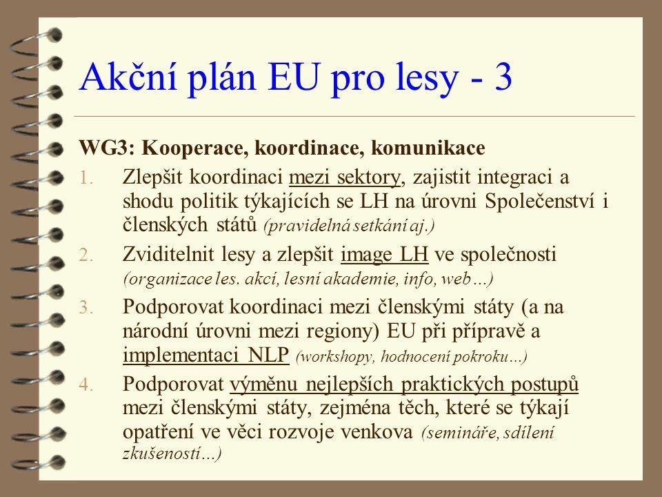 Akční plán EU pro lesy - 3 WG3: Kooperace, koordinace, komunikace