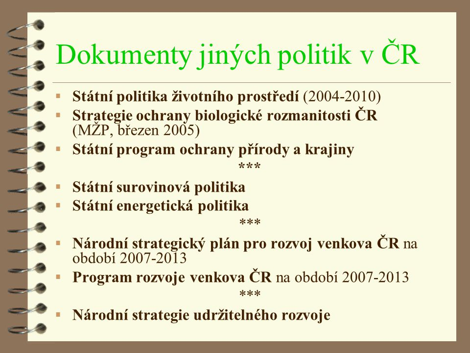 Dokumenty jiných politik v ČR
