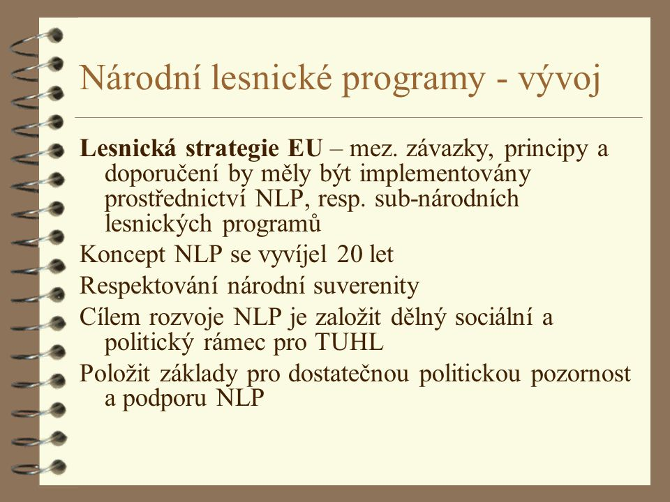 Národní lesnické programy - vývoj