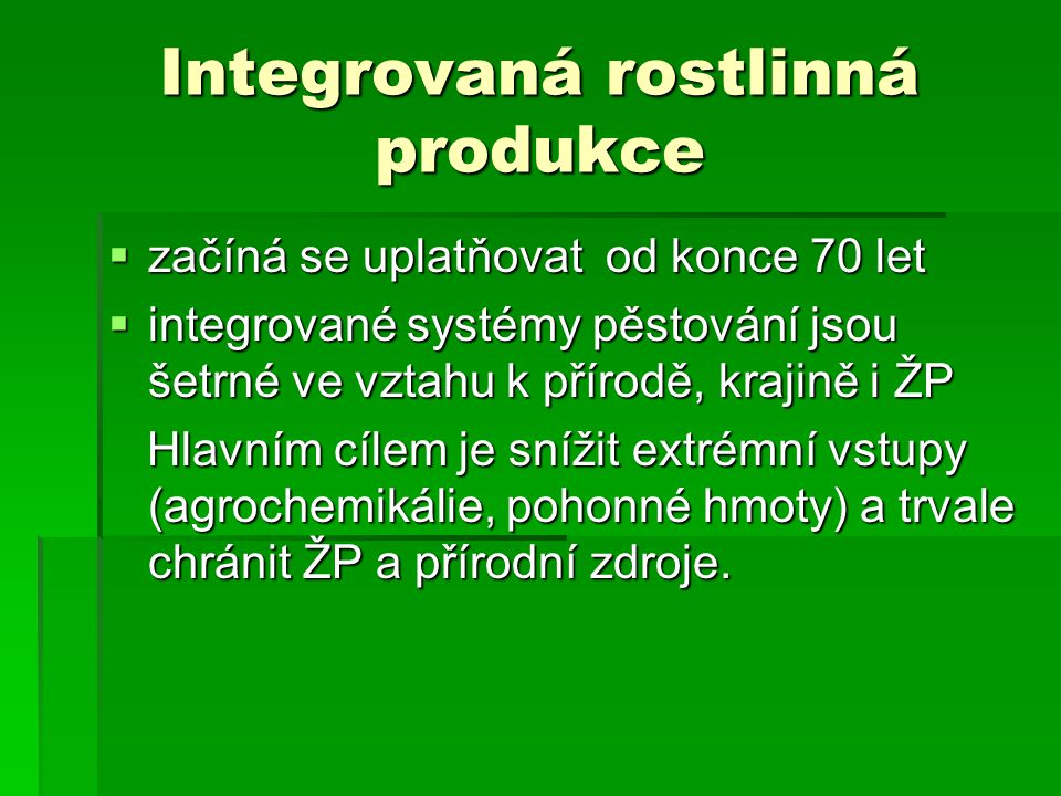 Integrovaná rostlinná produkce