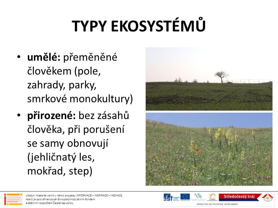 TYPY EKOSYSTÉMŮ umělé: přeměněné člověkem (pole, zahrady, parky, smrkové monokultury)