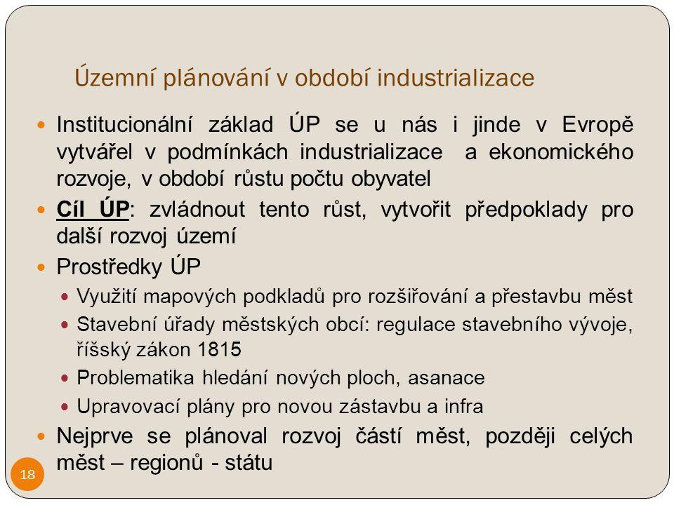 Územní plánování v období industrializace