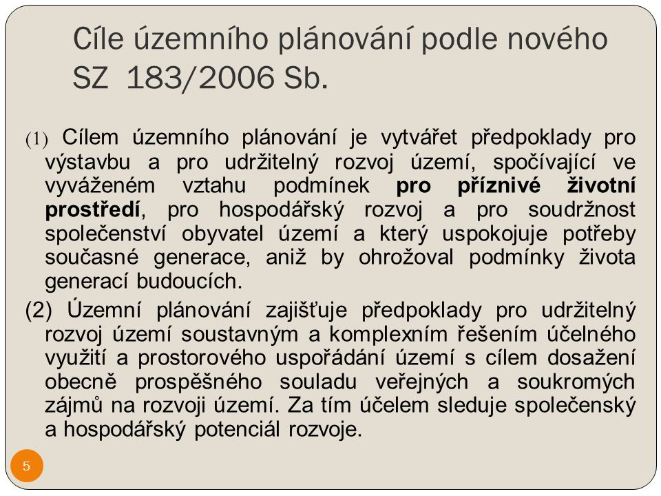 Cíle územního plánování podle nového SZ 183/2006 Sb.