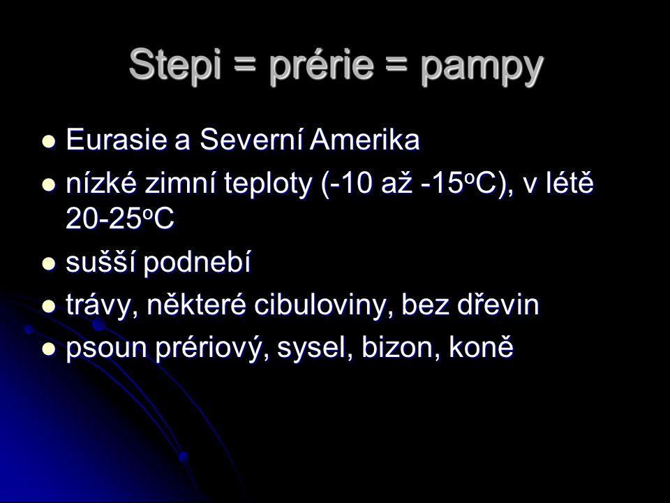 Stepi = prérie = pampy Eurasie a Severní Amerika