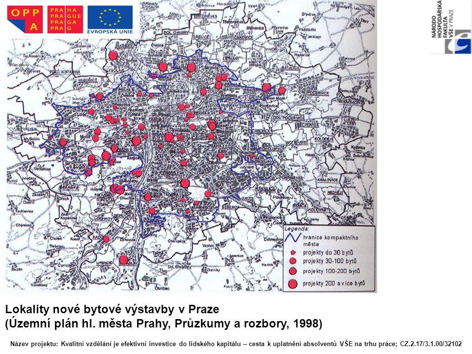 Lokality nové bytové výstavby v Praze
