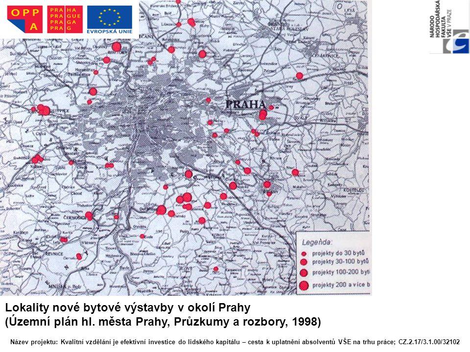 Lokality nové bytové výstavby v okolí Prahy