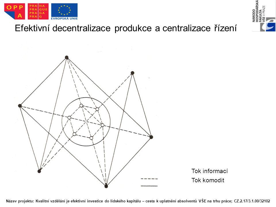 Efektivní decentralizace produkce a centralizace řízení