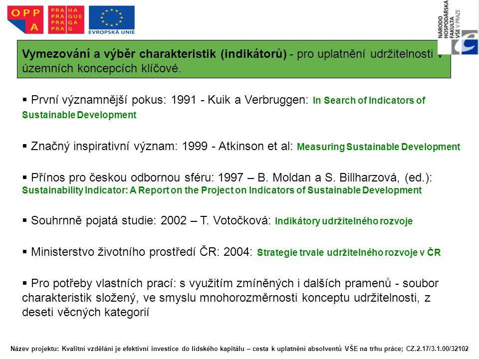 Vymezování a výběr charakteristik (indikátorů) - pro uplatnění udržitelnosti v územních koncepcích klíčové.