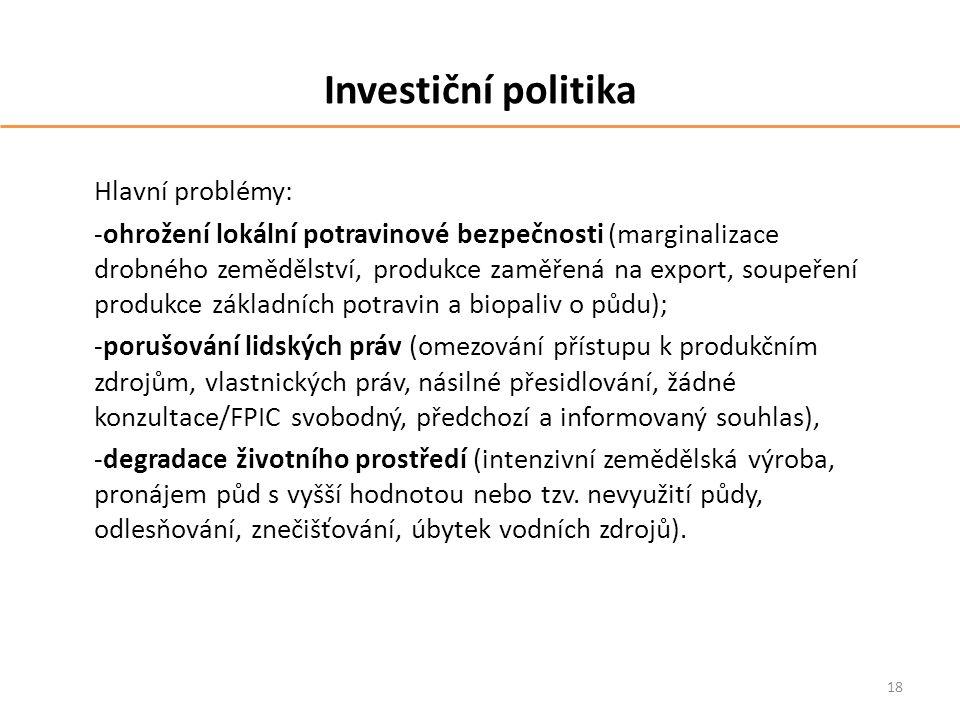 Investiční politika Hlavní problémy: