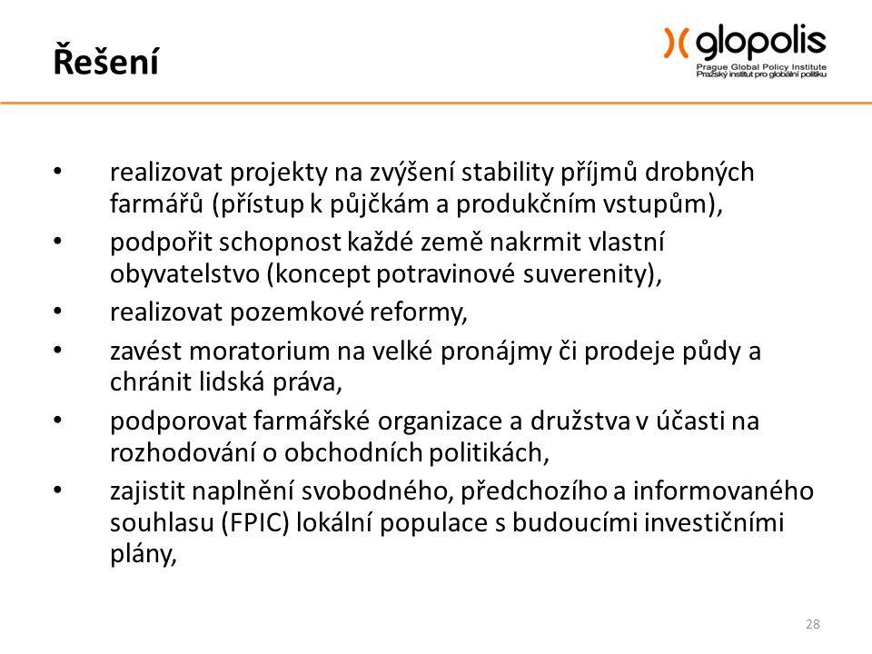 Řešení realizovat projekty na zvýšení stability příjmů drobných farmářů (přístup k půjčkám a produkčním vstupům),