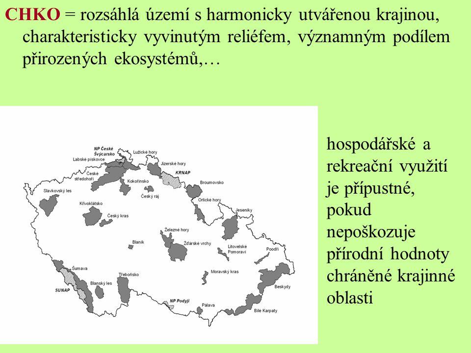 CHKO = rozsáhlá území s harmonicky utvářenou krajinou, charakteristicky vyvinutým reliéfem, významným podílem přirozených ekosystémů,…