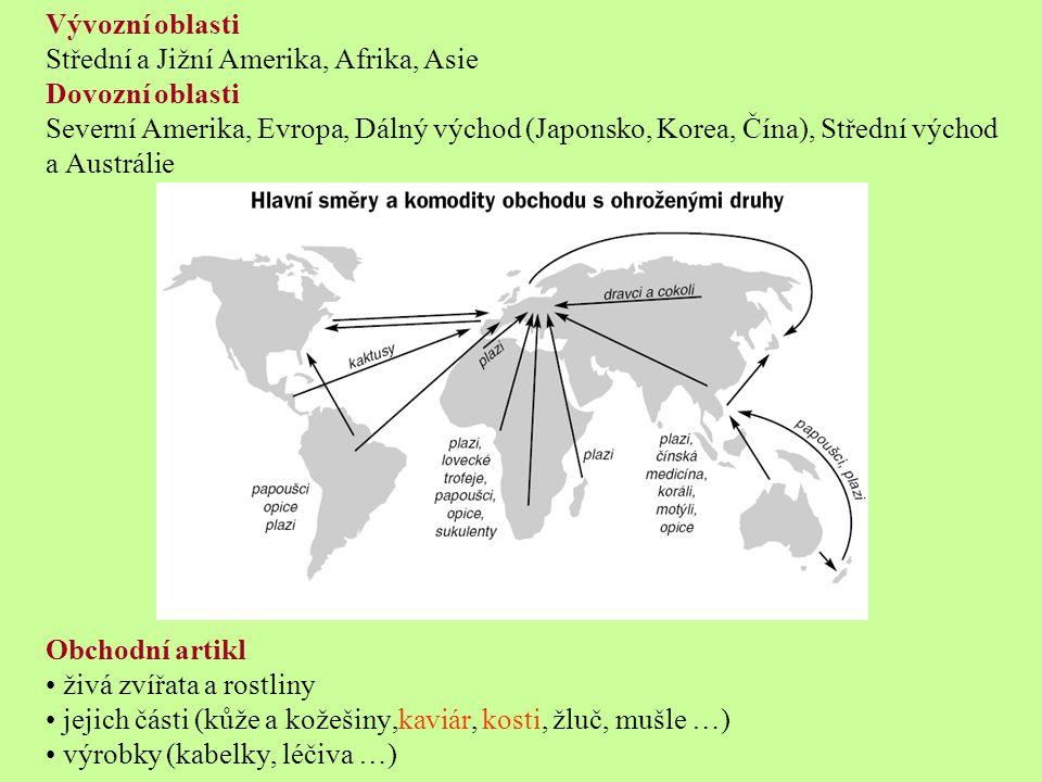 Vývozní oblasti Střední a Jižní Amerika, Afrika, Asie. Dovozní oblasti.