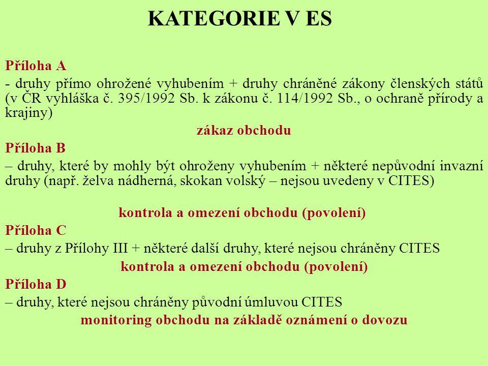 KATEGORIE V ES Příloha A