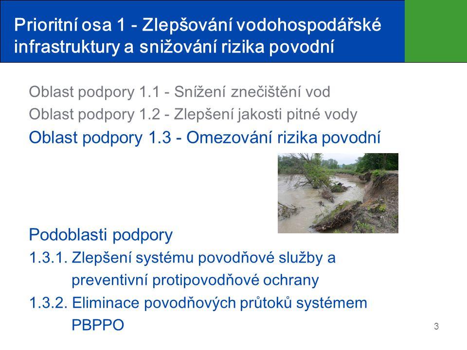 Prioritní osa 1 - Zlepšování vodohospodářské infrastruktury a snižování rizika povodní