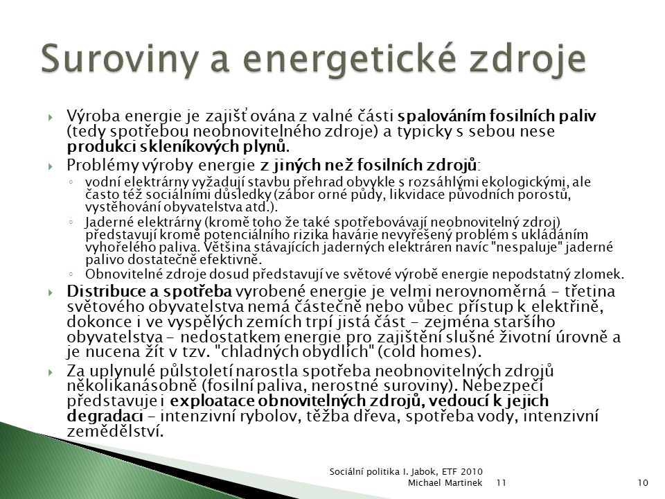 Suroviny a energetické zdroje