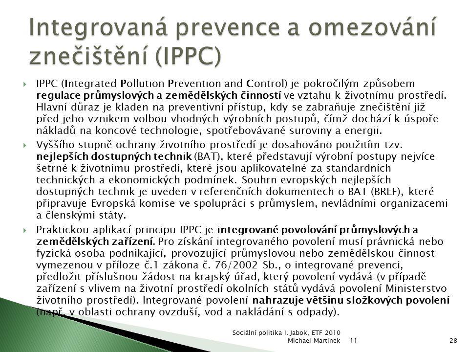 Integrovaná prevence a omezování znečištění (IPPC)