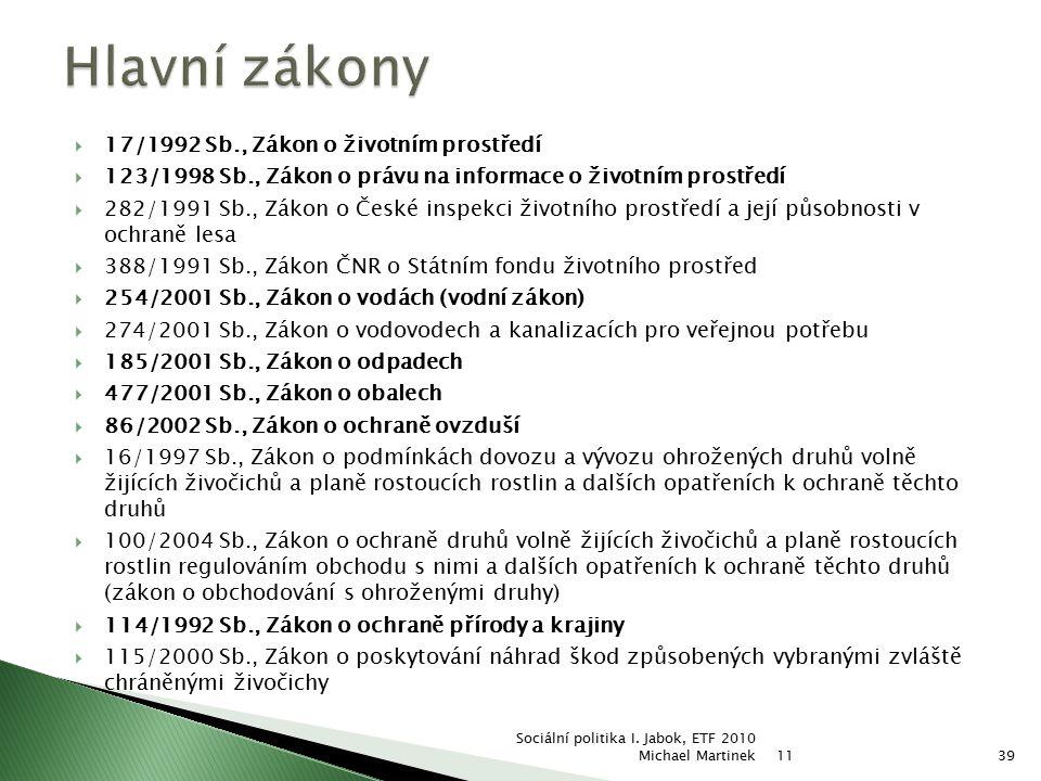 Hlavní zákony 17/1992 Sb., Zákon o životním prostředí