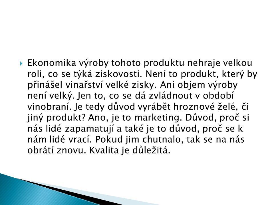 Ekonomika výroby tohoto produktu nehraje velkou roli, co se týká ziskovosti.
