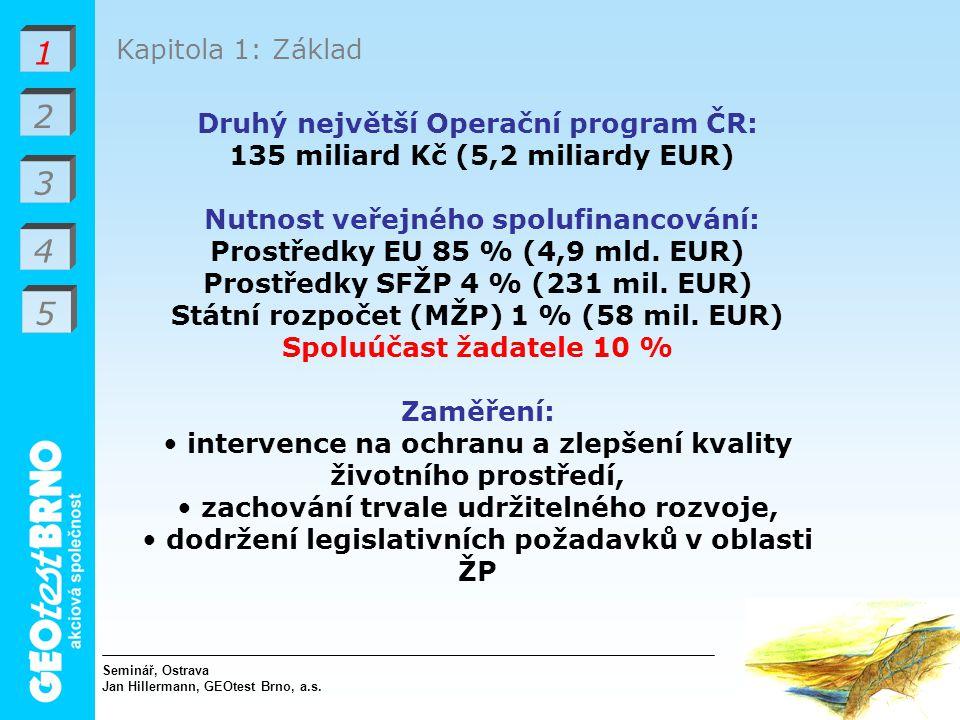 1 2 3 4 5 Kapitola 1: Základ Druhý největší Operační program ČR: