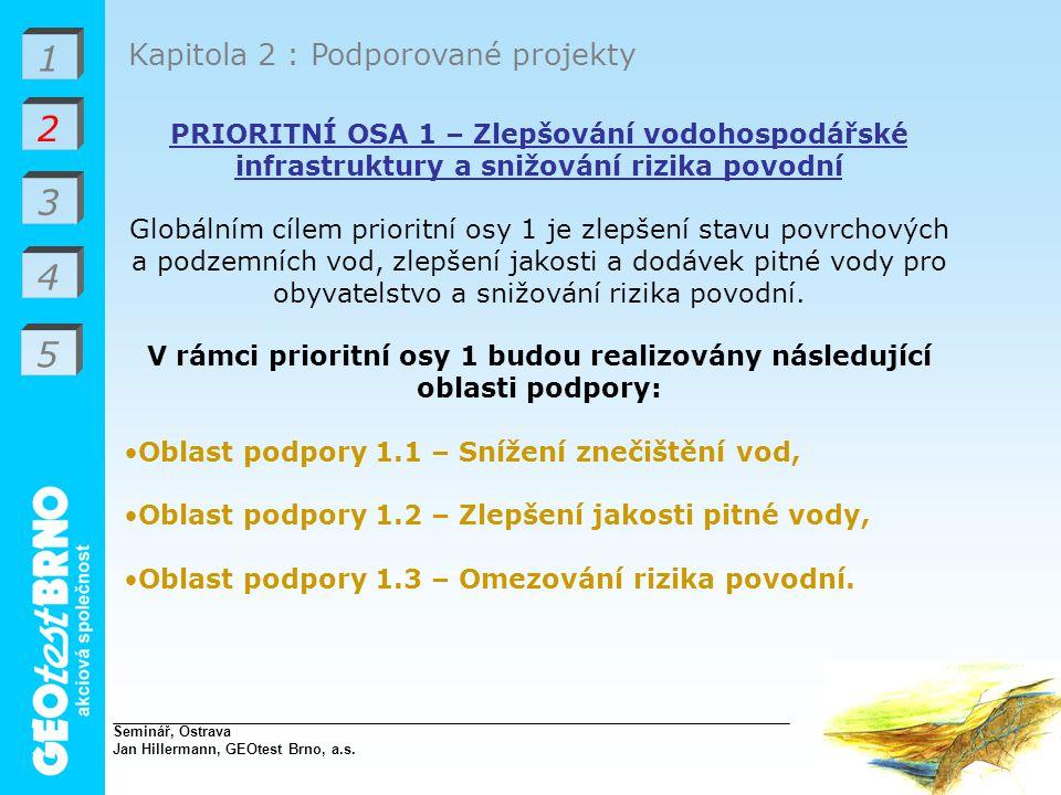 V rámci prioritní osy 1 budou realizovány následující oblasti podpory: