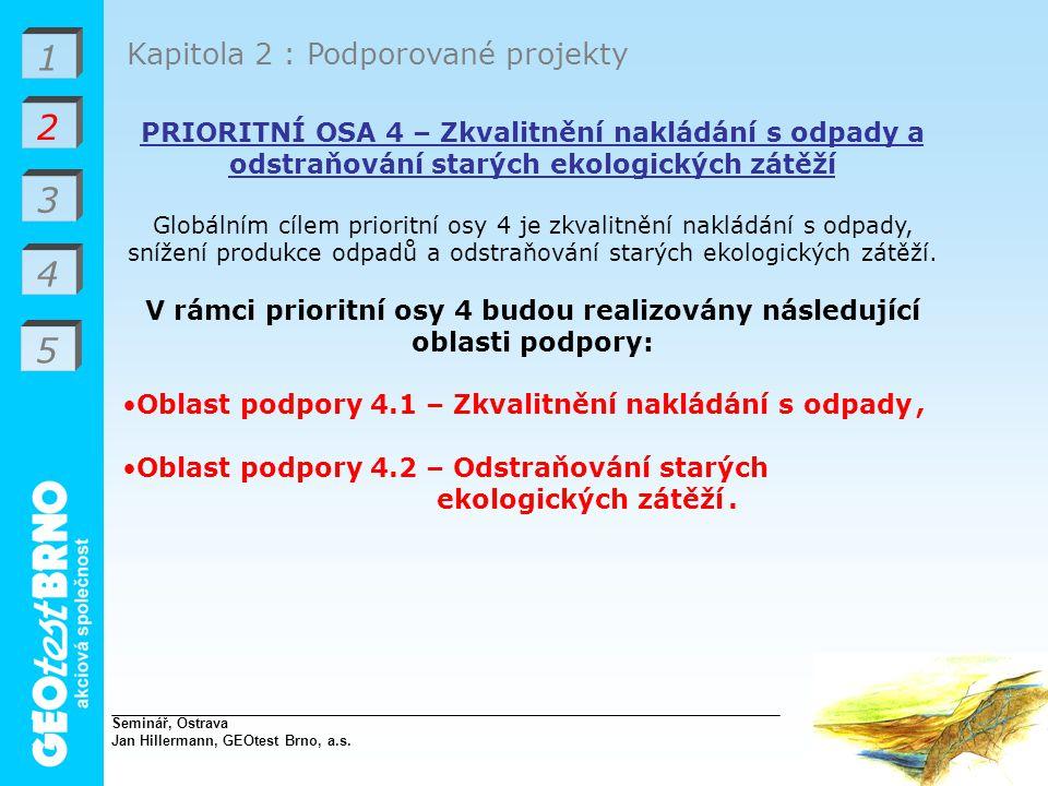 V rámci prioritní osy 4 budou realizovány následující oblasti podpory: