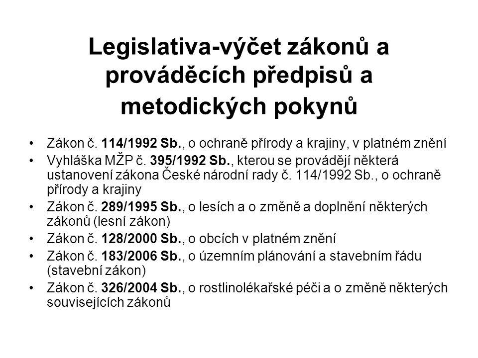 Legislativa-výčet zákonů a prováděcích předpisů a metodických pokynů
