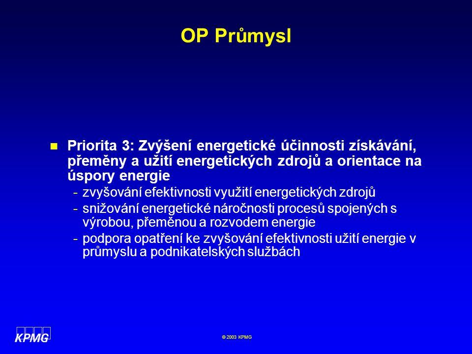 OP Průmysl Priorita 3: Zvýšení energetické účinnosti získávání, přeměny a užití energetických zdrojů a orientace na úspory energie.
