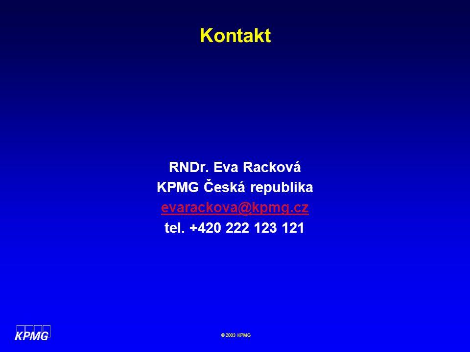 Kontakt RNDr. Eva Racková KPMG Česká republika evarackova@kpmg.cz