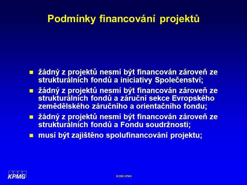 Podmínky financování projektů