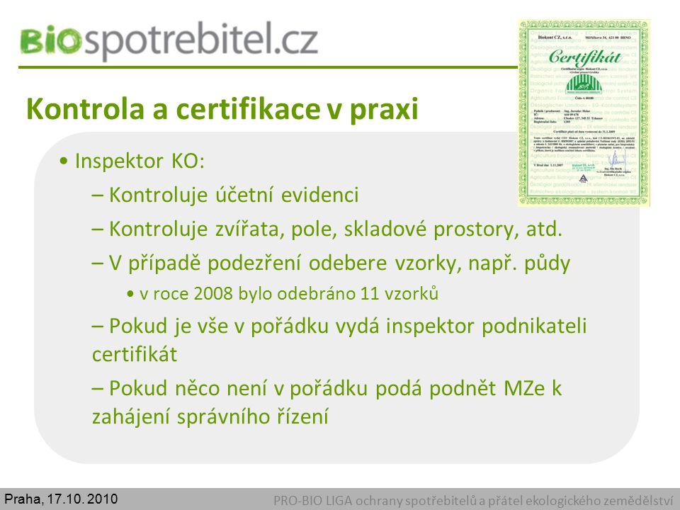 Kontrola a certifikace v praxi