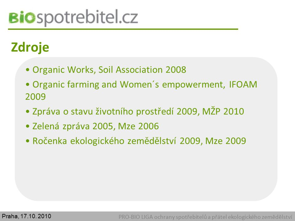 Zdroje Organic Works, Soil Association 2008