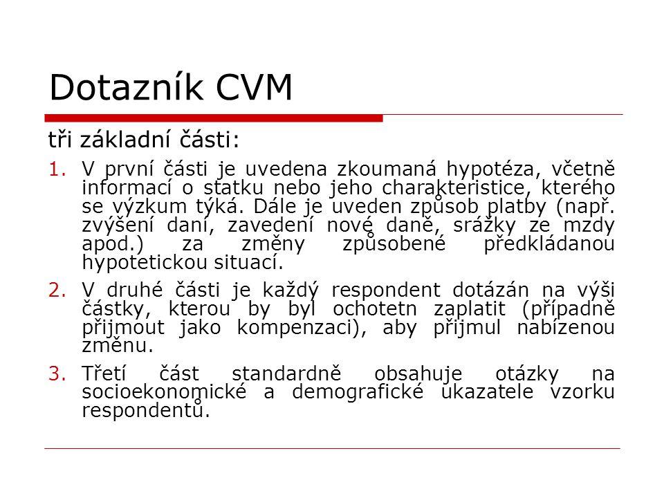 Dotazník CVM tři základní části: