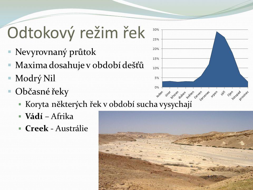Odtokový režim řek Nevyrovnaný průtok Maxima dosahuje v období dešťů