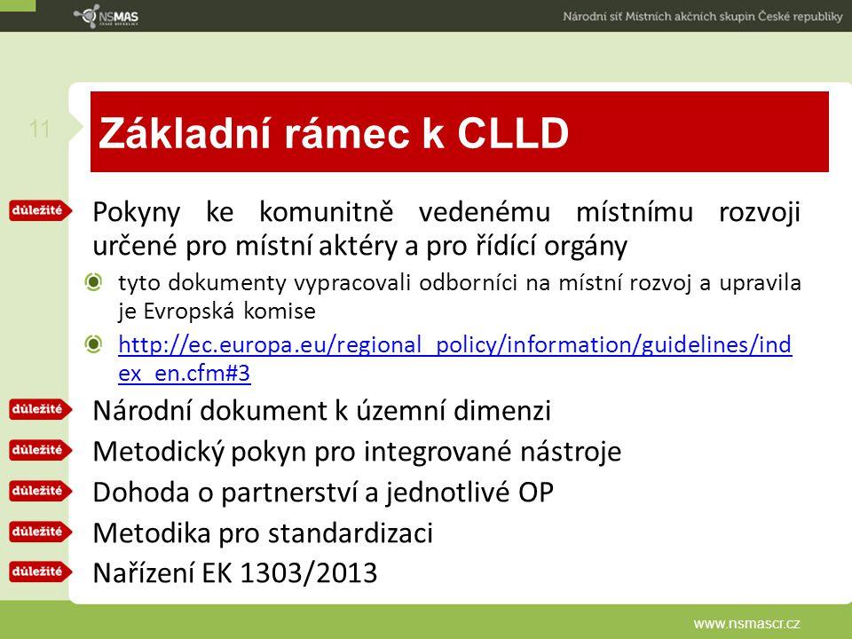 Základní rámec k CLLD Pokyny ke komunitně vedenému místnímu rozvoji určené pro místní aktéry a pro řídící orgány.
