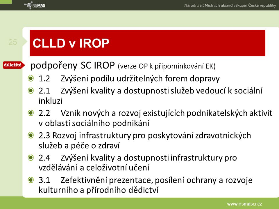 CLLD v IROP podpořeny SC IROP (verze OP k připomínkování EK)