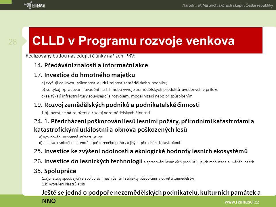 CLLD v Programu rozvoje venkova