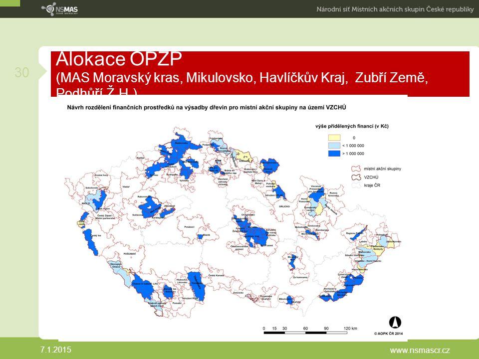 Alokace OPŽP (MAS Moravský kras, Mikulovsko, Havlíčkův Kraj, Zubří Země, Podhůří Ž.H.)