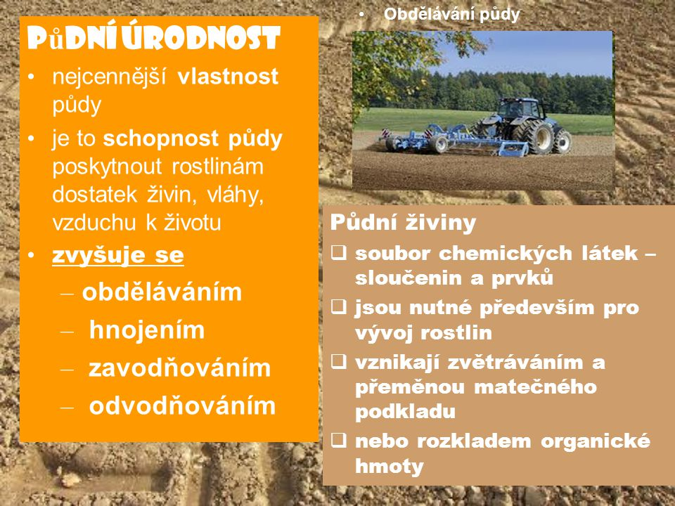Půdní úrodnost obděláváním hnojením zavodňováním odvodňováním