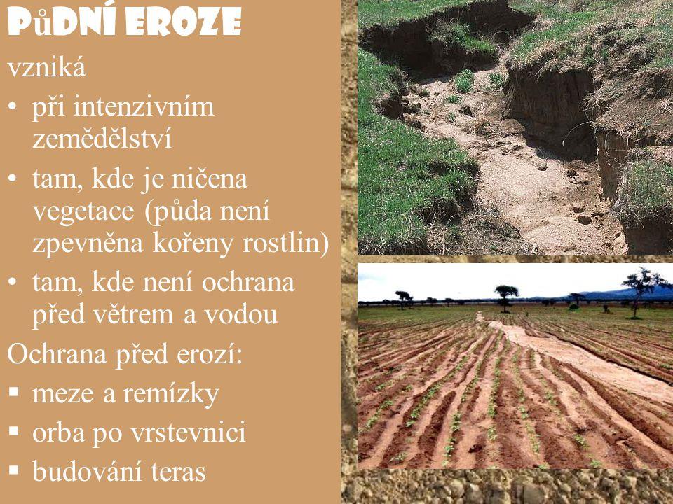Půdní eroze vzniká při intenzivním zemědělství