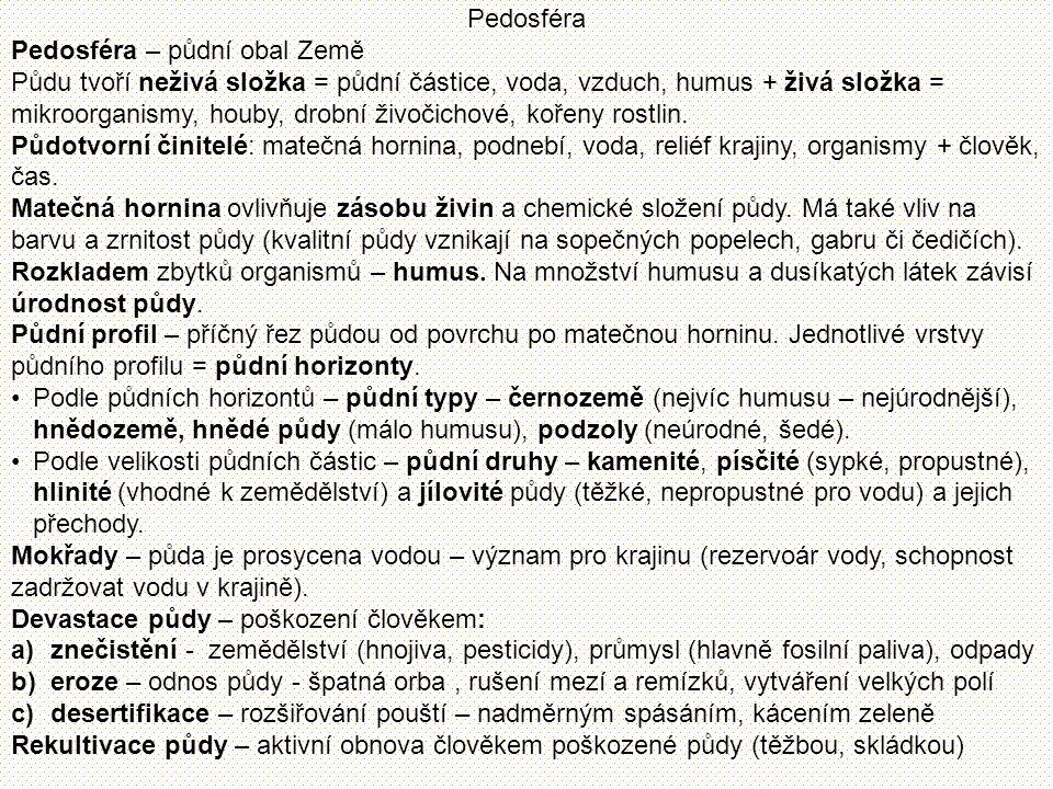 Pedosféra Pedosféra – půdní obal Země.