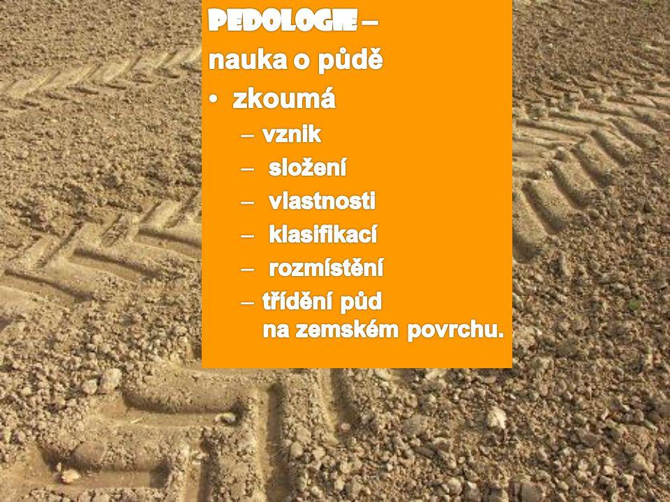 Pedologie – nauka o půdě zkoumá vznik složení vlastnosti klasifikací
