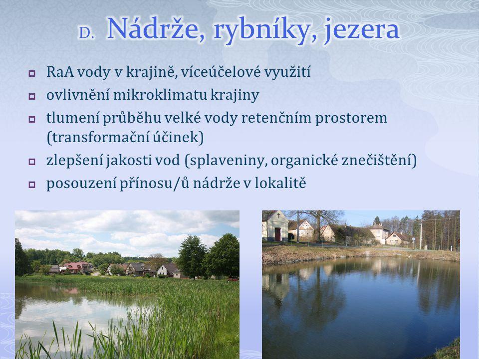 D. Nádrže, rybníky, jezera