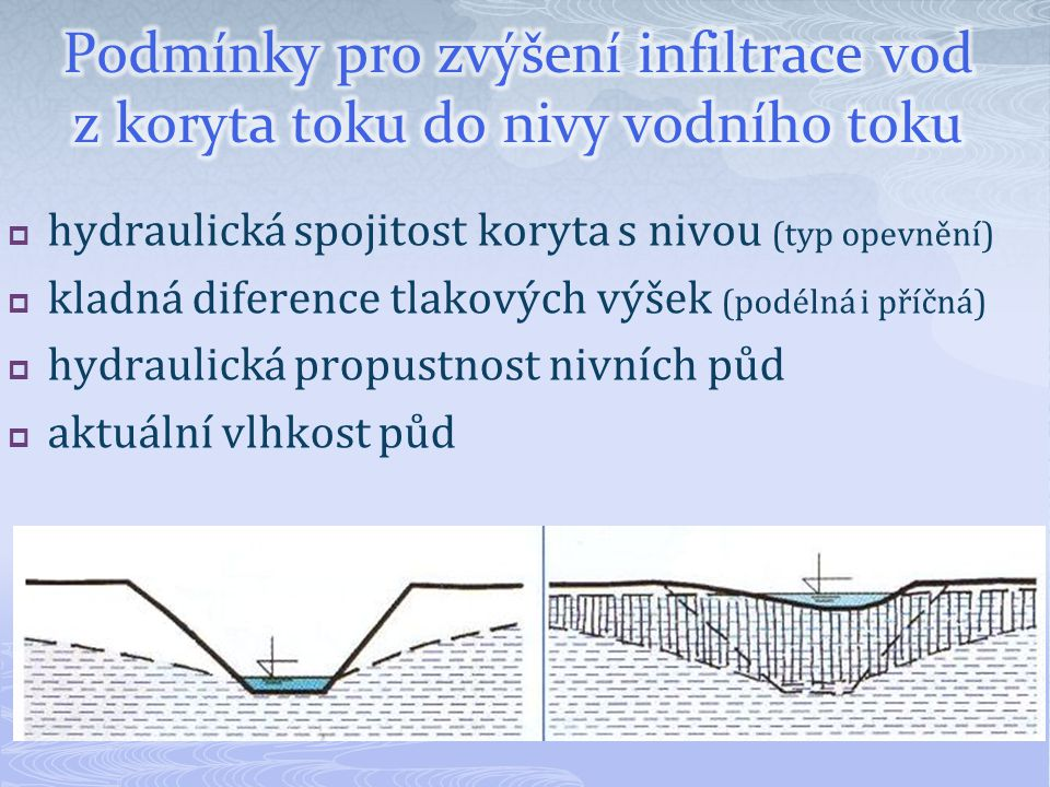 Podmínky pro zvýšení infiltrace vod z koryta toku do nivy vodního toku