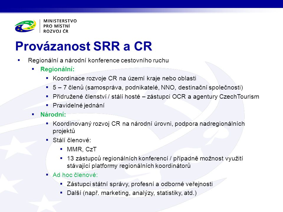 Provázanost SRR a CR Regionální a národní konference cestovního ruchu