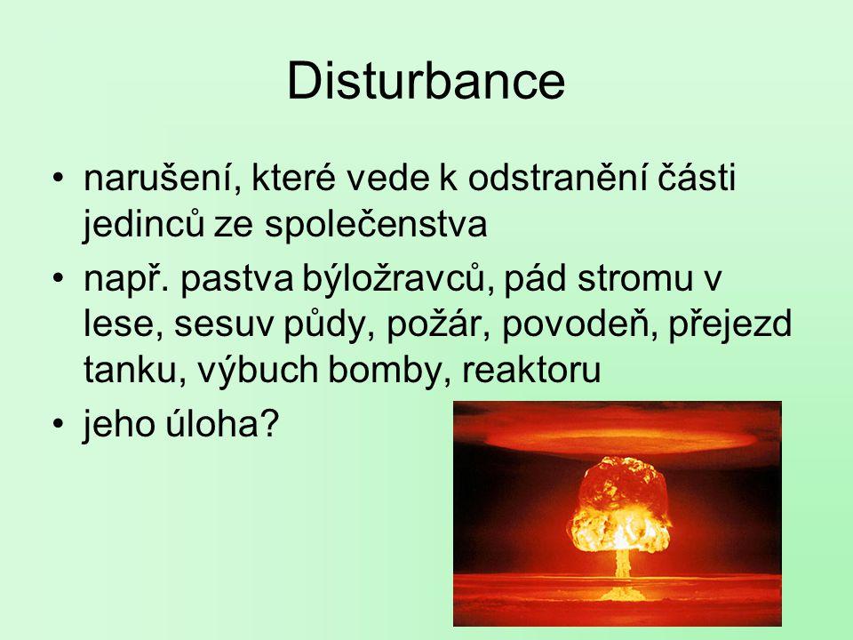Disturbance narušení, které vede k odstranění části jedinců ze společenstva.