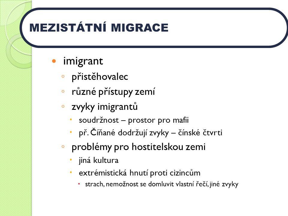 imigrant MEZISTÁTNÍ MIGRACE přistěhovalec různé přístupy zemí