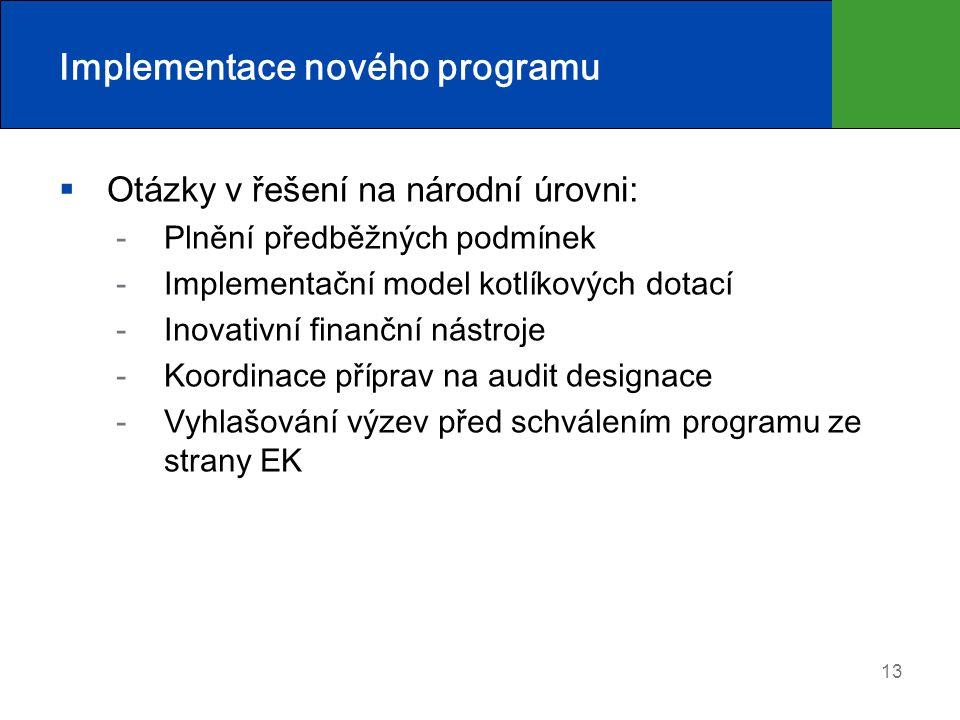 Implementace nového programu