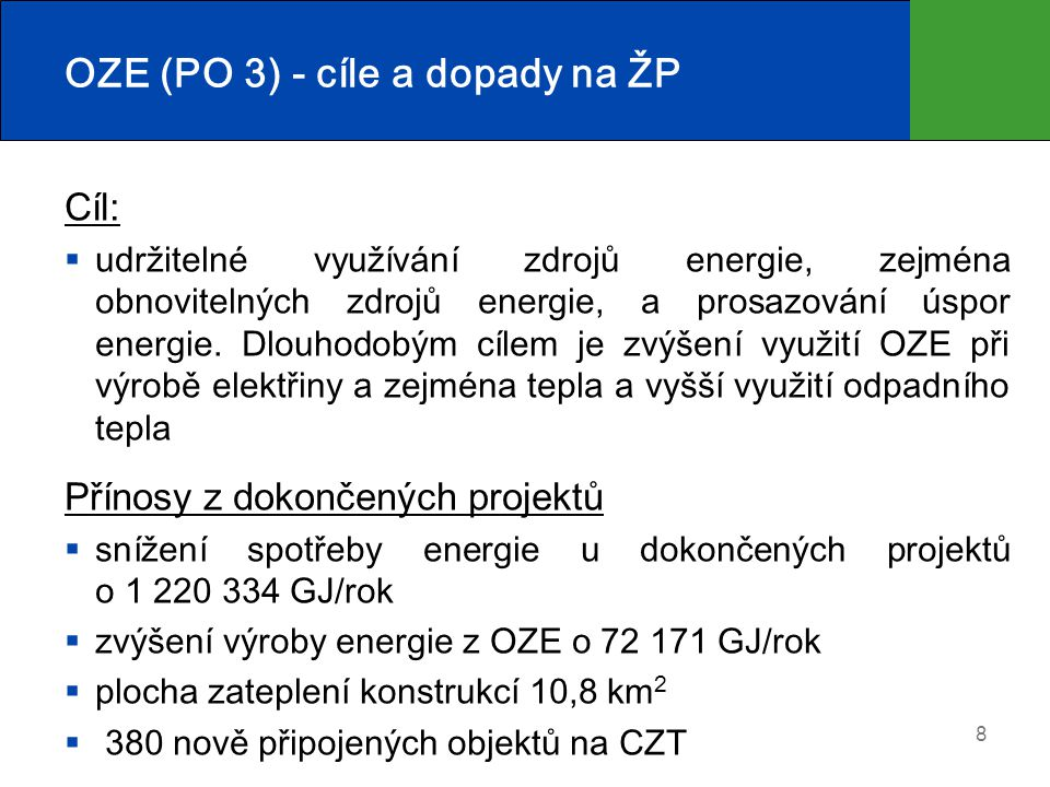OZE (PO 3) - cíle a dopady na ŽP