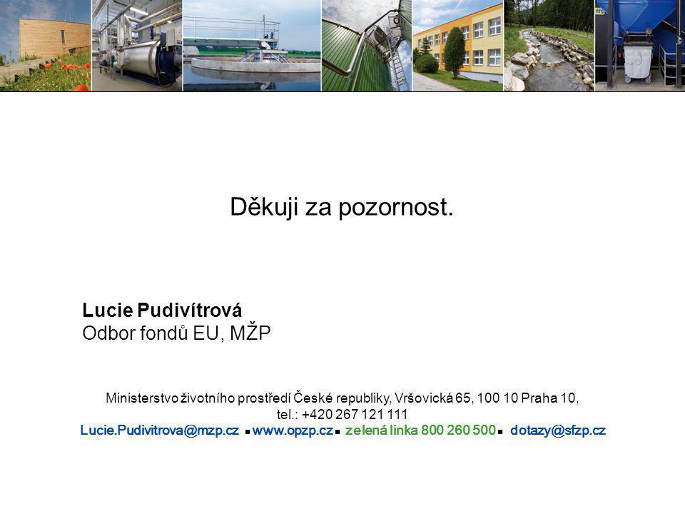 Děkuji za pozornost. Lucie Pudivítrová Odbor fondů EU, MŽP