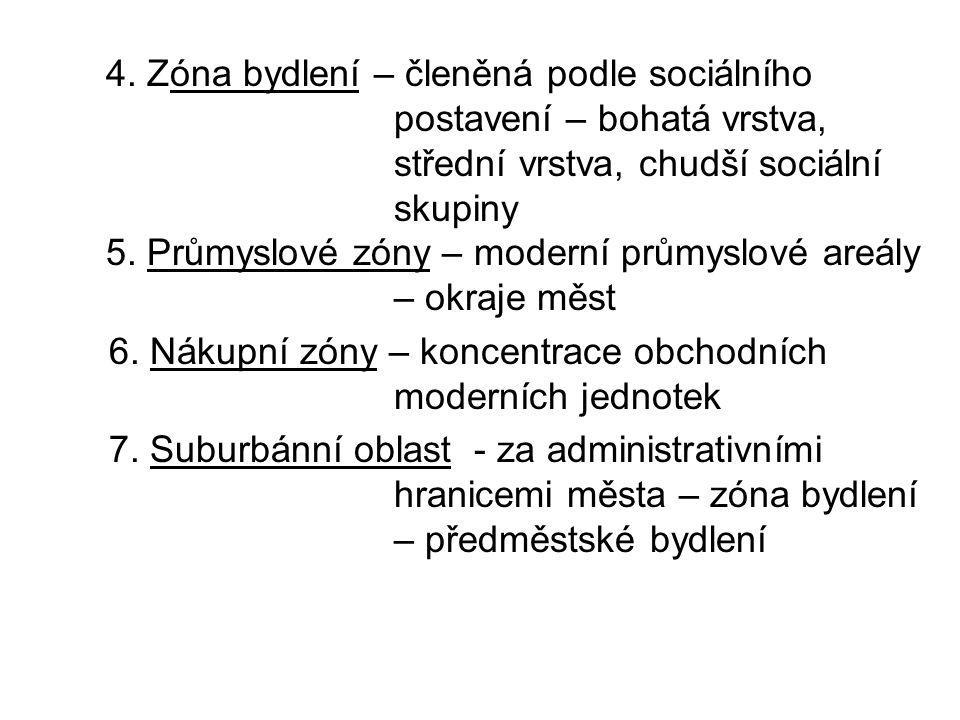 4. Zóna bydlení – členěná podle sociálního. postavení – bohatá vrstva,